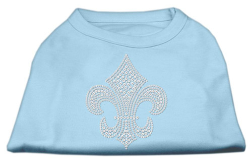 Silver Fleur De Lis Rhinestone Shirts Baby Blue Xs (8)