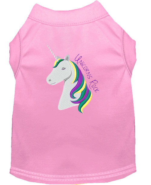 Unicorns Rock Embroidered Dog Shirt Light Pink Lg (14)