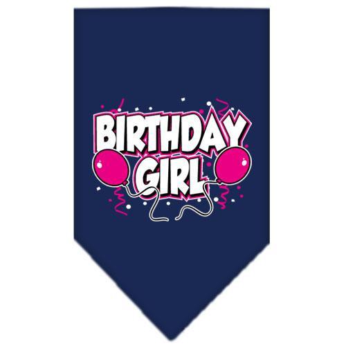 Birthday Girl Screen Print Bandana Navy Blue Large