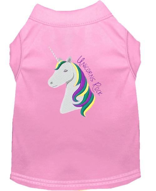 Unicorns Rock Embroidered Dog Shirt Light Pink Med (12)