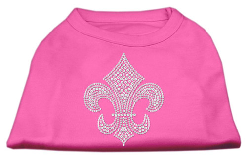 Silver Fleur De Lis Rhinestone Shirts Bright Pink Xs (8)