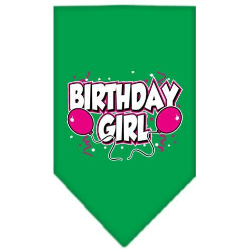 Birthday Girl Screen Print Bandana Emerald Green Large