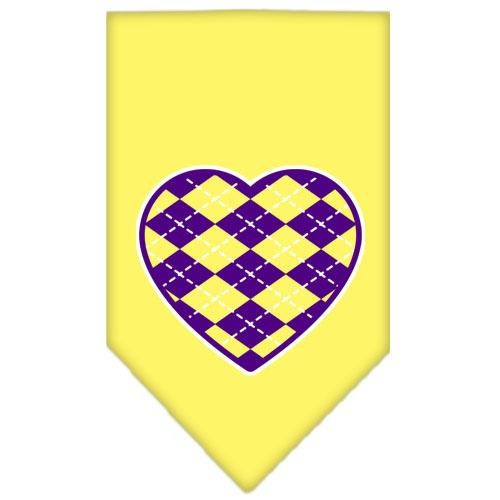 Argyle Heart Purple Screen Print Bandana Yellow Large