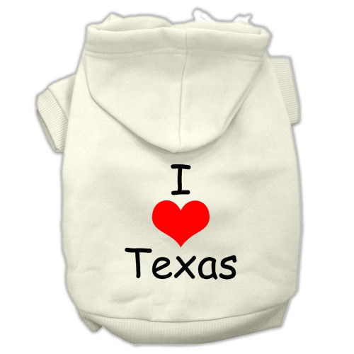 I Love Texas Screen Print Pet Hoodies Cream Size Sm (10)