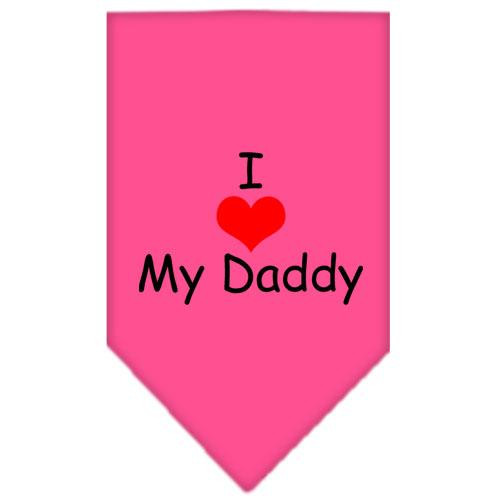 I Heart My Daddy  Screen Print Bandana Bright Pink Small