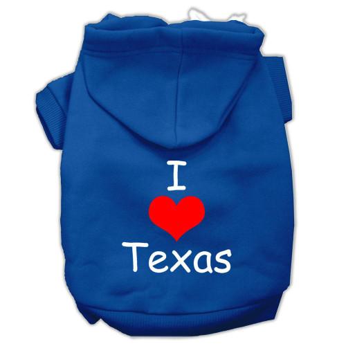 I Love Texas Screen Print Pet Hoodies Blue Size Sm (10)