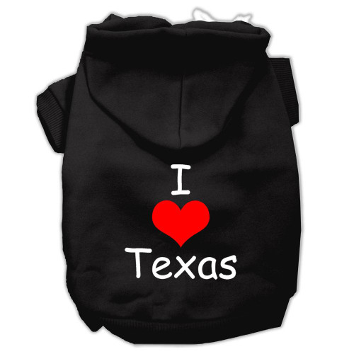 I Love Texas Screen Print Pet Hoodies Black Size Sm (10)