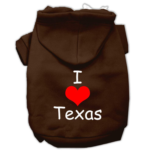 I Love Texas Screen Print Pet Hoodies Brown Size Sm (10)