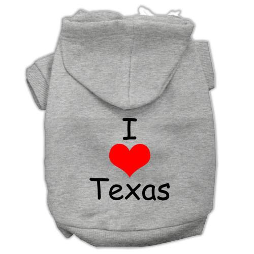 I Love Texas Screen Print Pet Hoodies Grey Size Sm (10)