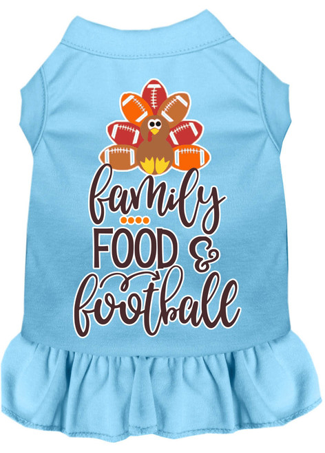 Family, Food, And Football Screen Print Dog Dress Baby Blue Xxxl