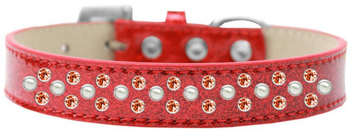 Sprinkles Ice Cream Dog Collar Pearl And Orange Crystals Size 18 Red