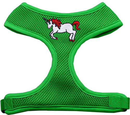 Unicorn Embroidered Soft Mesh Harness Emerald Green Small