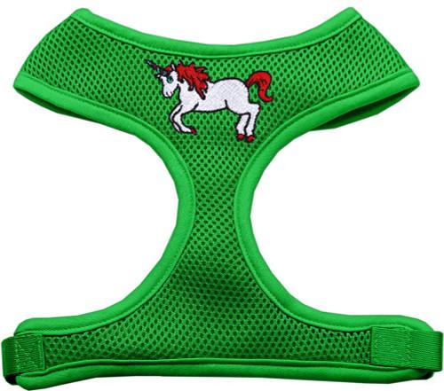 Unicorn Embroidered Soft Mesh Harness Emerald Green Small