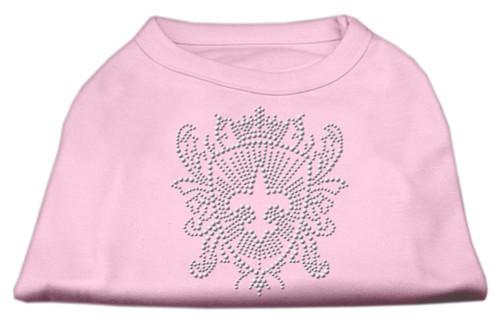 Rhinestone Fleur De Lis Shield Shirts Light Pink Xxxl(20)