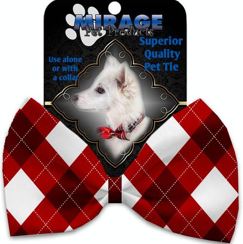 Candy Cane Argyle Pet Bow Tie