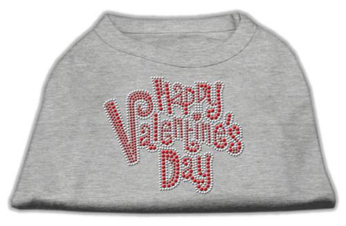 Happy Valentines Day Rhinestone Dog Shirt Grey Lg (14)