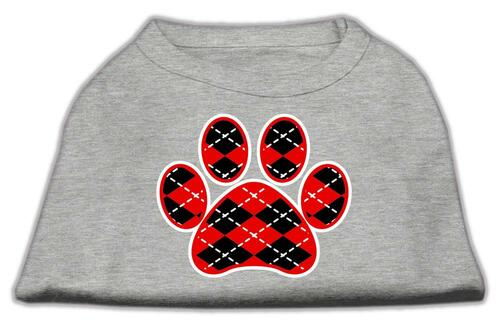 Argyle Paw Red Screen Print Shirt Grey Med (12)