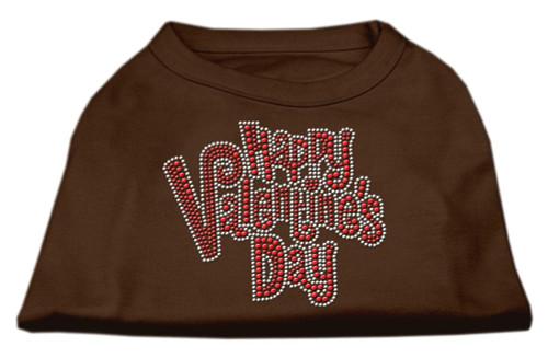Happy Valentines Day Rhinestone Dog Shirt Brown Lg (14)