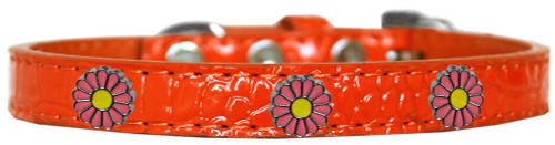 Pink Daisy Widget Croc Dog Collar Orange Size 12