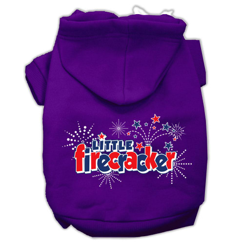 Little Firecracker Screen Print Pet Hoodies Purple Size L (14)