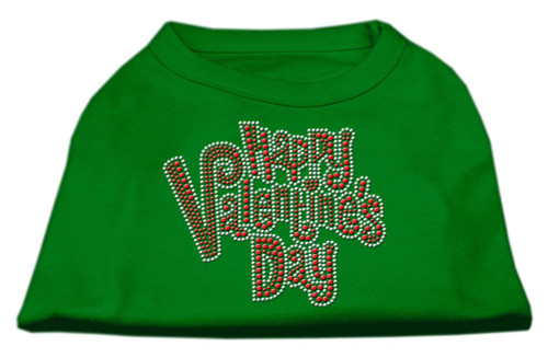 Happy Valentines Day Rhinestone Dog Shirt Emerald Green Lg (14)