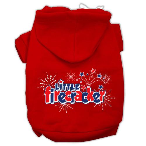 Little Firecracker Screen Print Pet Hoodies Red Size L (14)