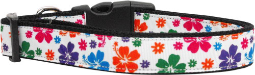 Multi-colored Hawaiian Hibiscus Nylon Dog Collars Medium