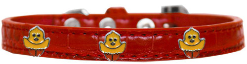 Chickadee Widget Croc Dog Collar Red Size 16
