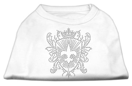 Rhinestone Fleur De Lis Shield Shirts White Xs (8)
