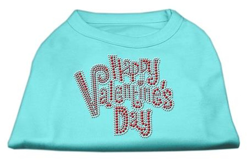 Happy Valentines Day Rhinestone Dog Shirt Aqua Lg (14)