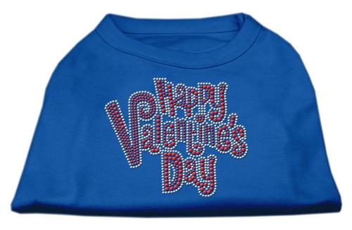 Happy Valentines Day Rhinestone Dog Shirt Blue Lg (14)