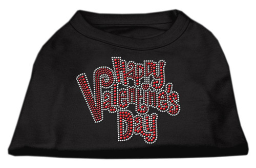 Happy Valentines Day Rhinestone Dog Shirt Black Lg (14)