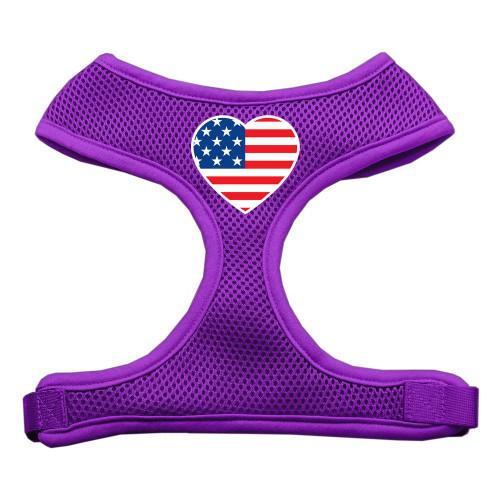Heart Flag Usa Screen Print Soft Mesh Harness Purple Small