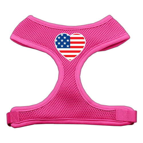 Heart Flag Usa Screen Print Soft Mesh Harness Pink Small