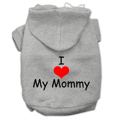 I Love My Mommy Screen Print Pet Hoodies Grey Size Xs (8)