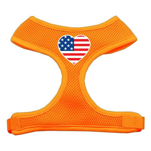 Heart Flag Usa Screen Print Soft Mesh Harness Orange Small