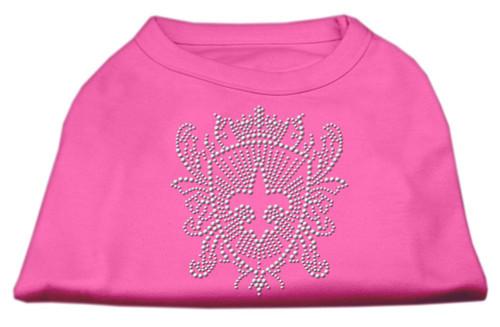 Rhinestone Fleur De Lis Shield Shirts Bright Pink Xs (8)