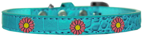 Pink Daisy Widget Croc Dog Collar Turquoise Size 14