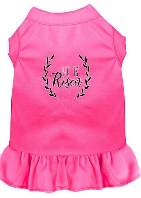 He Is Risen Screen Print Dog Dress Bright Pink Sm (10)
