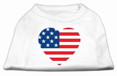 American Flag Heart Screen Print Shirt White Sm (10)