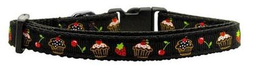 Cupcakes Nylon Ribbon Collar Black X-small