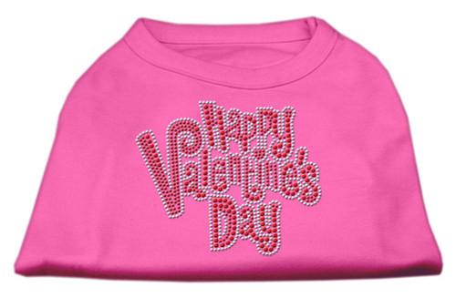 Happy Valentines Day Rhinestone Dog Shirt Bright Pink Sm (10)