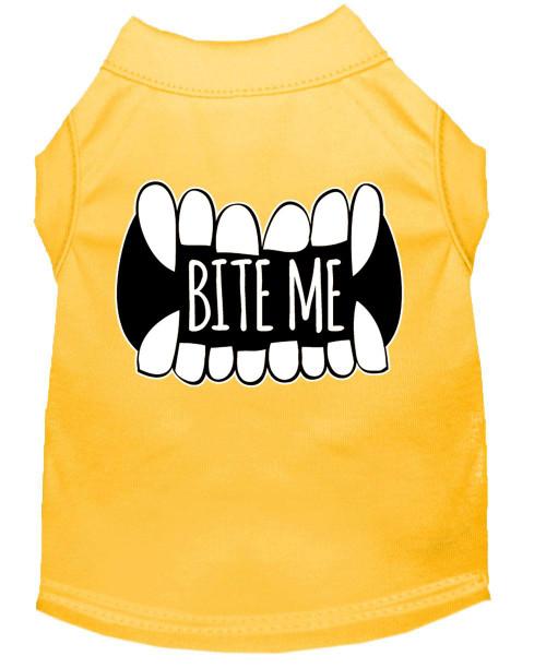 Bite Me Screen Print Dog Shirt Yellow Xs (8)