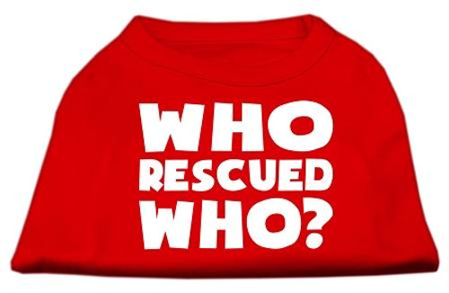 Who Rescued Who Screen Print Shirt Red Sm (10)