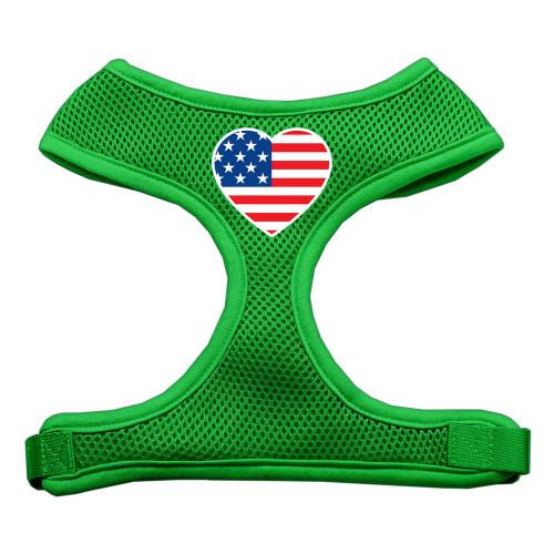 Heart Flag Usa Screen Print Soft Mesh Harness Emerald Green Small