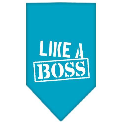 Like A Boss Screen Print Bandana Turquoise Small