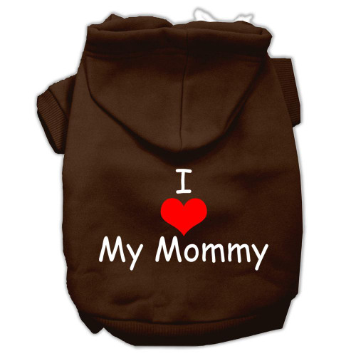 I Love My Mommy Screen Print Pet Hoodies Brown Size Xs (8)