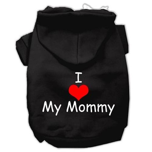 I Love My Mommy Screen Print Pet Hoodies Black Size Xs (8)