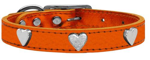 Silver Heart Widget Genuine Metallic Leather Dog Collar Orange 16
