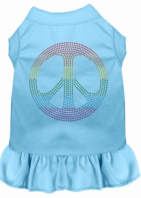 Rhinestone Rainbow Peace Dress Baby Blue Lg (14)
